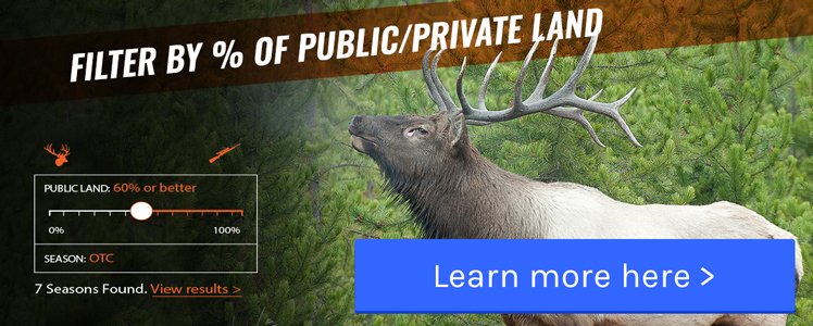 Filter by percent private/public land