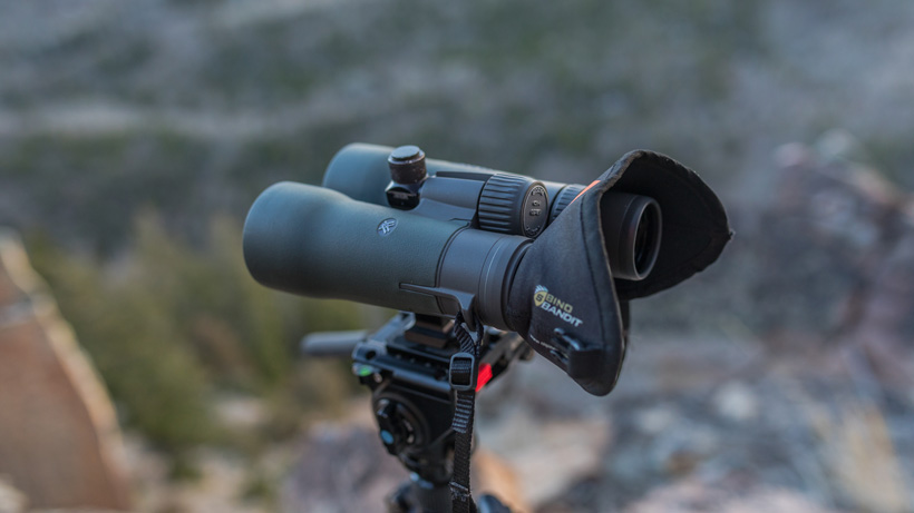 12 power Vortex Razor HD binoculars on tripod