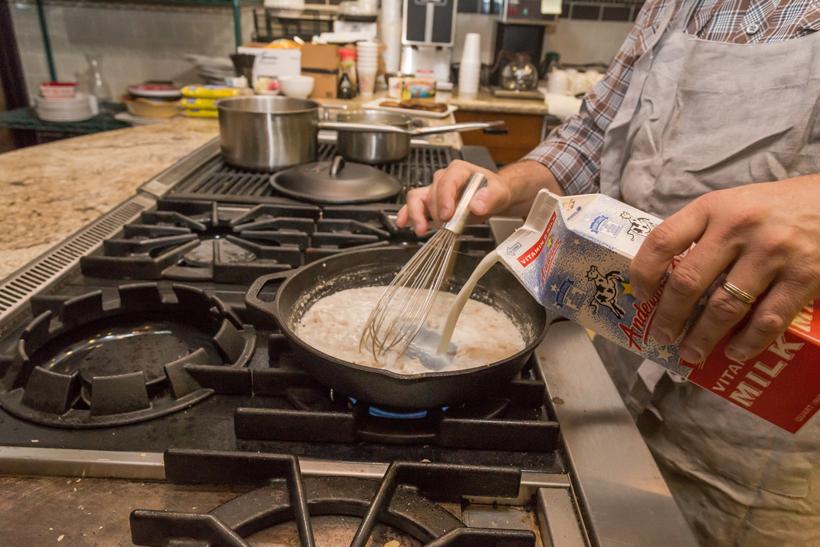 Adding milk to the roux
