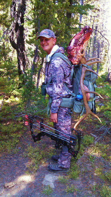 Packing out the elk rack