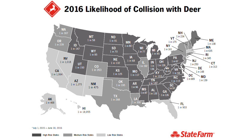 State Farm Collision with Deer Map