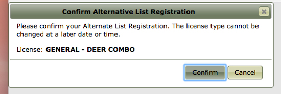 2017 Montana combination license alternate list confirmation