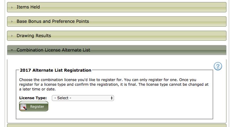 2017 Montana combination license alternate list main registration