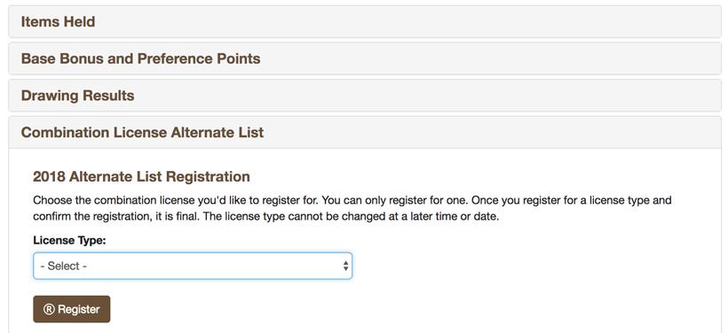 2018 Montana combination license alternate list registration