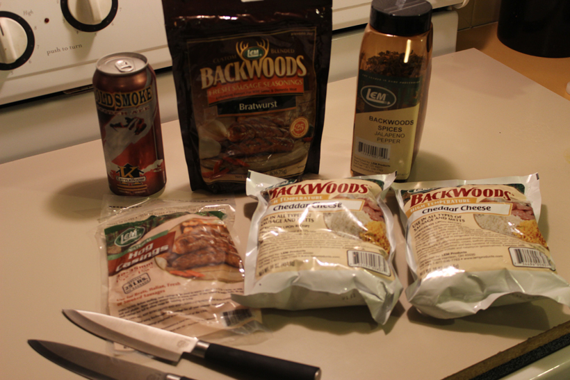 Supplies needed for venison bratwursts