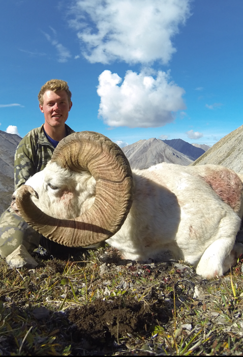 Nathan French holding the Dall sheep
