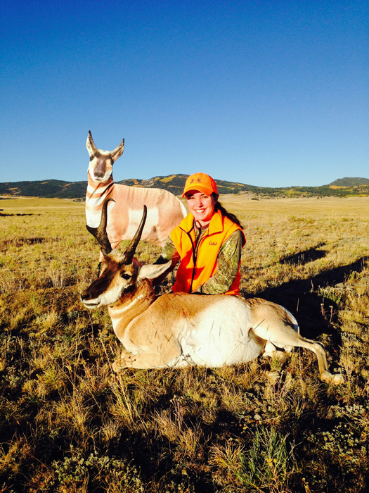 Aaron Oglesby wife with her Colorado antelope buck and the decoy