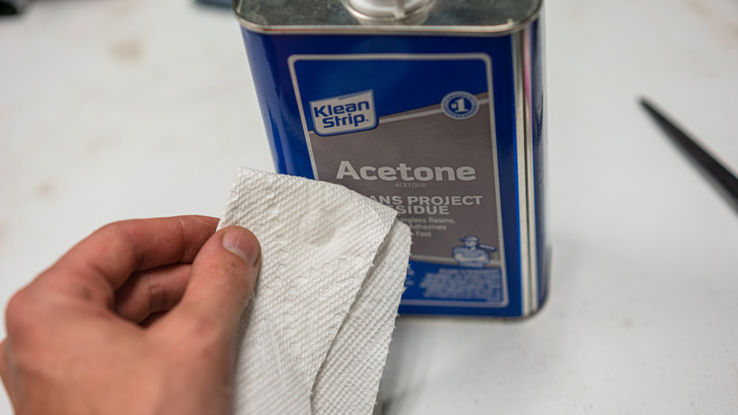 Acetone on paper towel