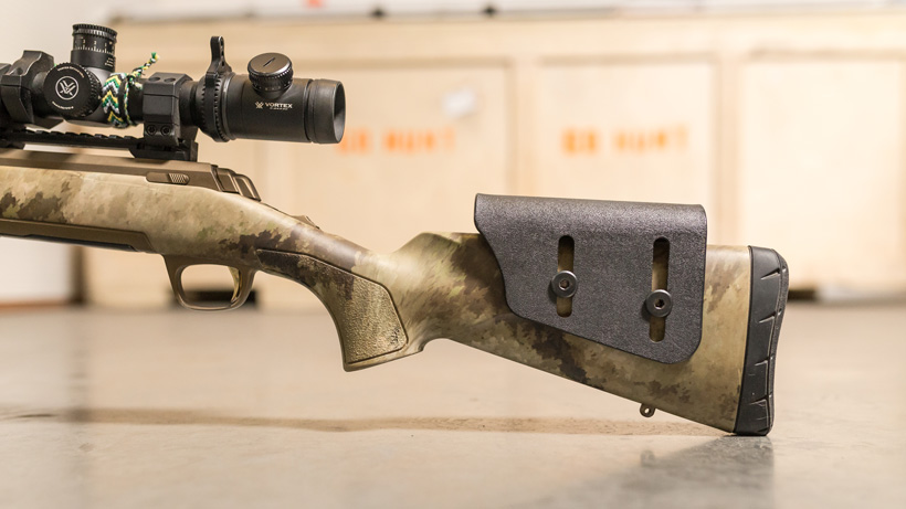 Adding a raised cheek piece to a stock hunting rifle