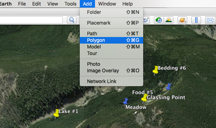 Adding polygon areas of elk activity on google earth