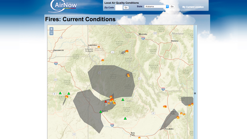 Airnow Smoke And Air Quality Due To Wildfires