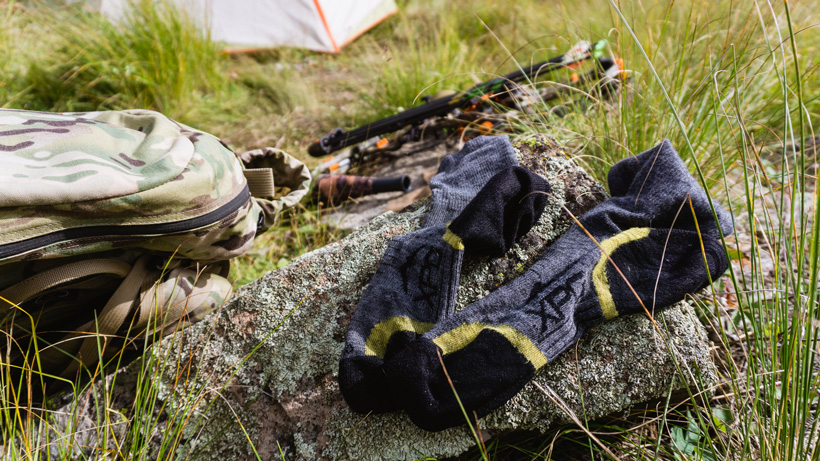 Airing out socks on a backcountry hunt