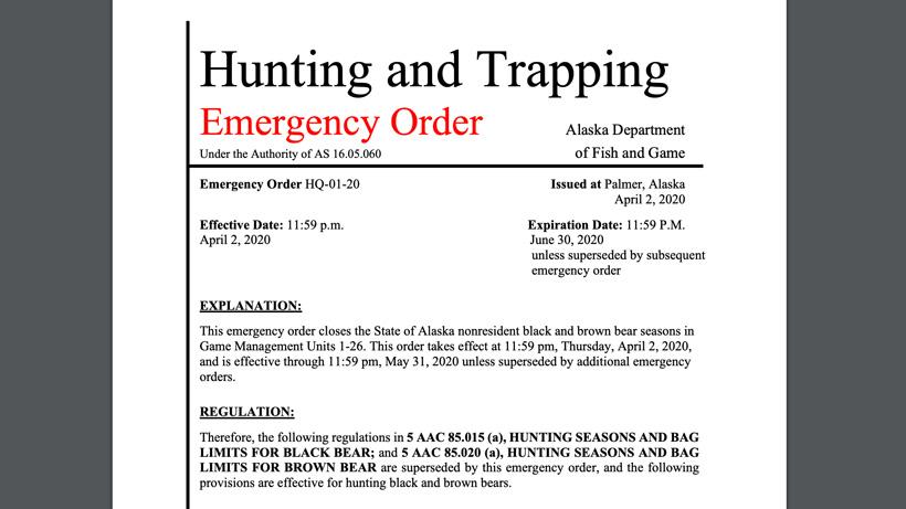 Alaska emergency order