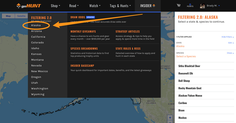 Alaska hunt research Filtering tool