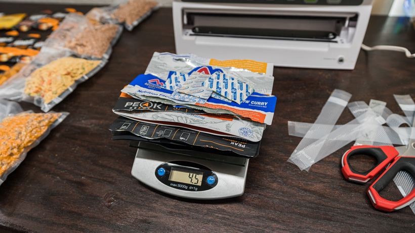 All the wrapper weight from five freeze dried meals