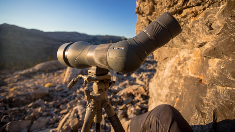 Angled Vortex spotting scope glassing in mountain terrain