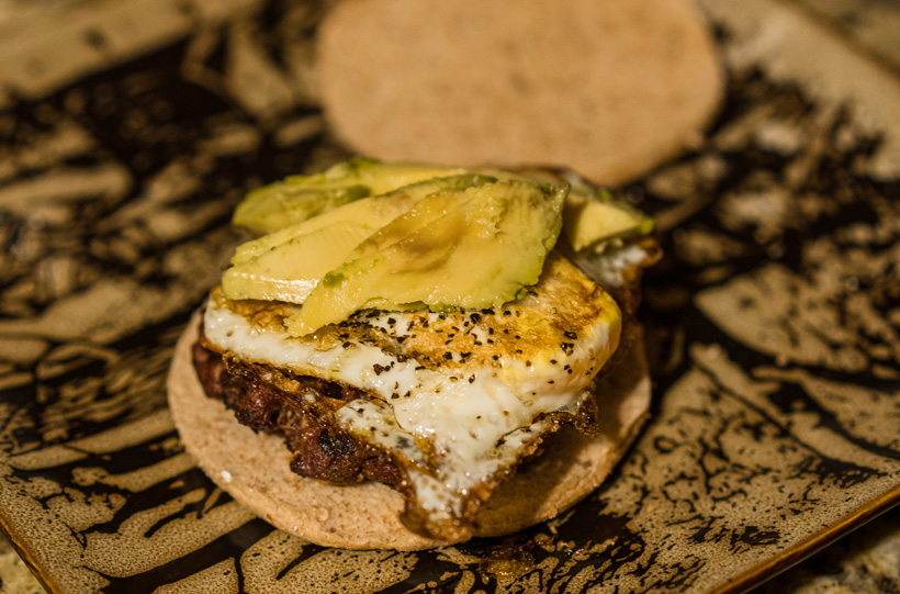 Antelope burger with egg and avocado