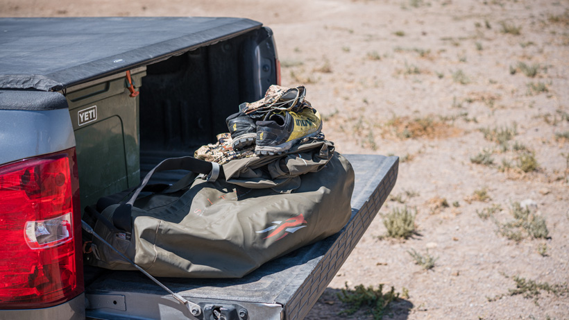 Antelope hunting gear on tailgate