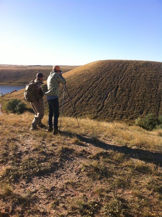 Shooting off of hiking sticks at antelope