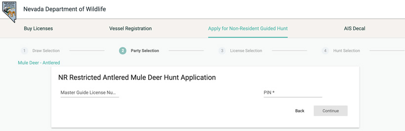 Applying for Nevada guided mule deer draw