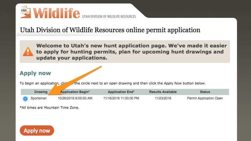 Applying for Utah sportsman hunting permits