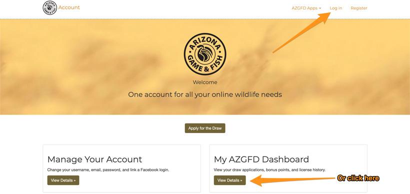 Arizona Game and Fish portal account