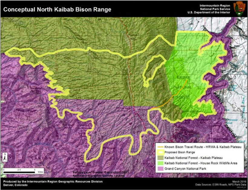 Arizona Kaibab bison map