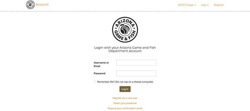 Arizona hunting portal account login