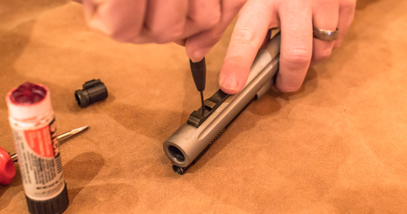 Adding the custom front sight to the muzzleloader