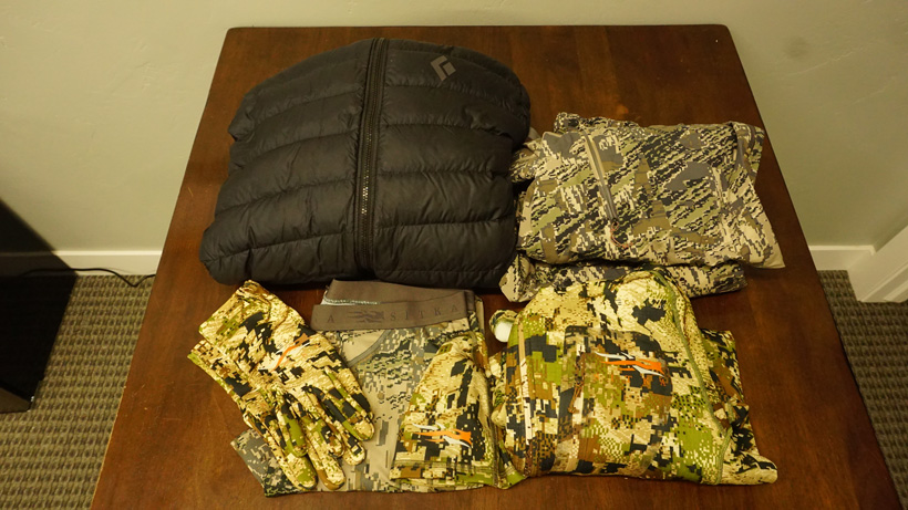 Backcountry elk hunting packed clothes