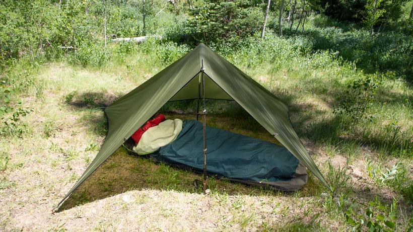 Bivy sack camp setup for backcountry hunting