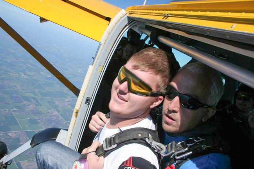 Blake Miller skydiving selfie