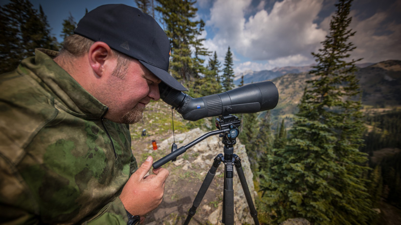 Brandon Evans glassing with a Zeiss Gavia Spotting Scope