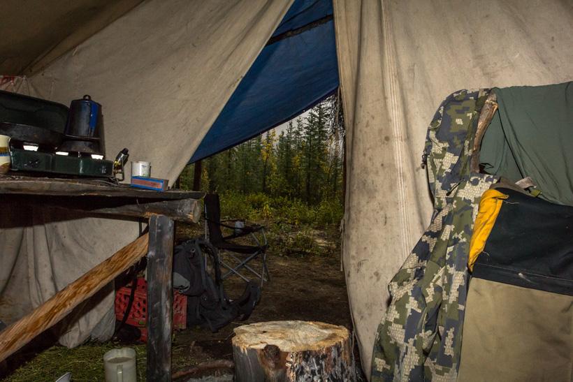 Breakfast in the wall tent