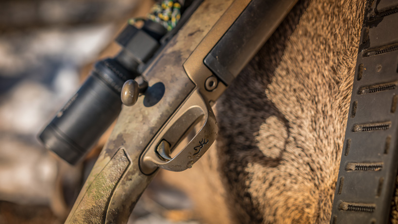 Browning X bolt rifle closeup with elk