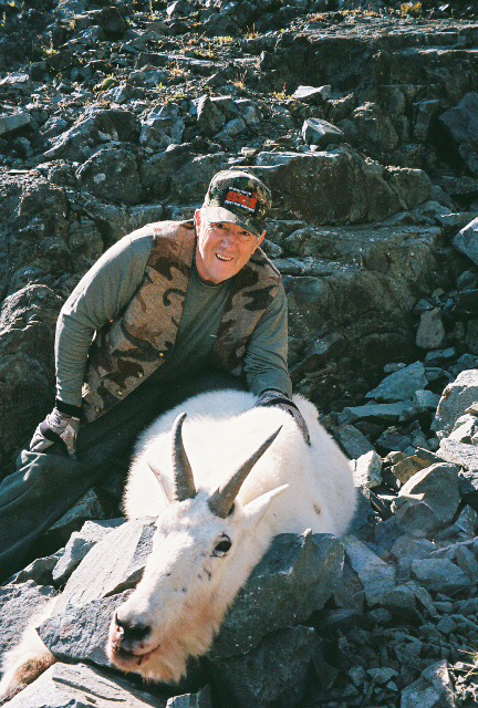 Bruce Hutcheon with his mountain goat