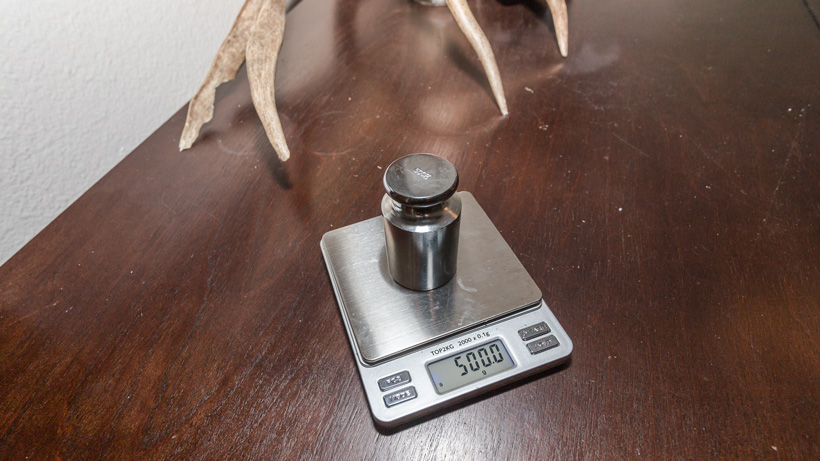 Calibrated weight scale for checking backcountry hunting gear