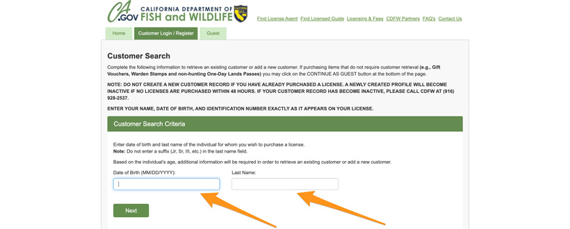 California hunter customer account search page