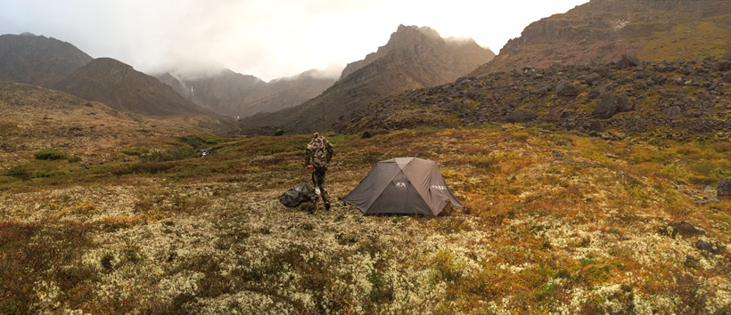 Camp location in the rocks of the Yukon