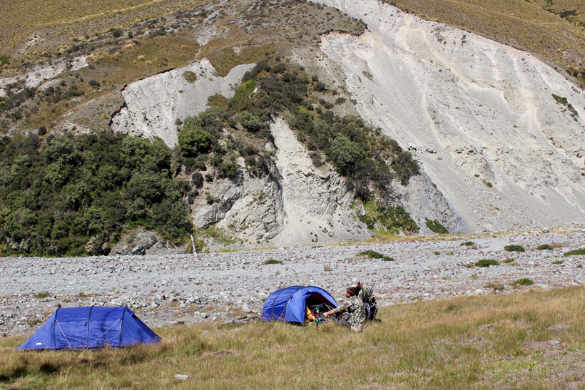 Camp setup while hunting tahr in New Zealand