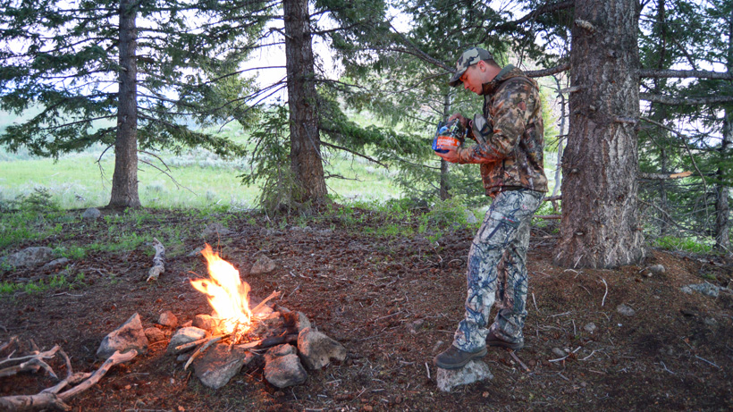 Campfires and mountain house dinner while hunting
