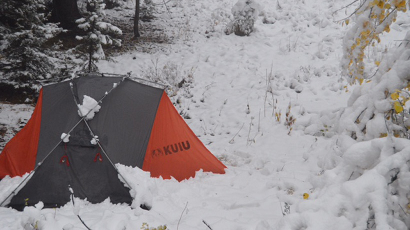 Camping in a snowstorm