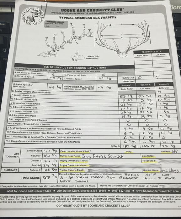 Casey Spanish Nevada bull elk unofficial score sheet