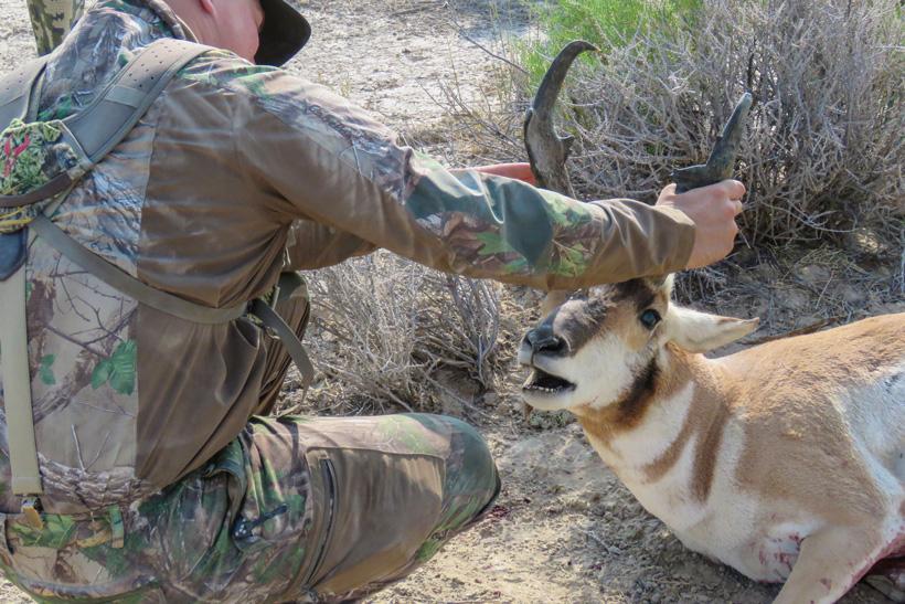 Casey admiring his antelope buck