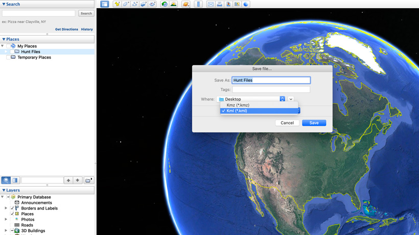 Change file to KML on Google Earth export