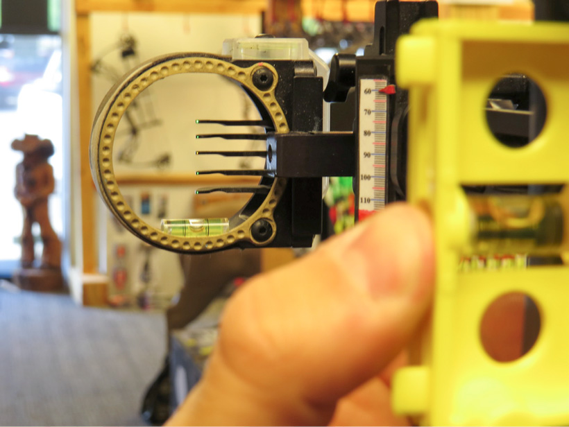 Checking the second axis on a bow sight
