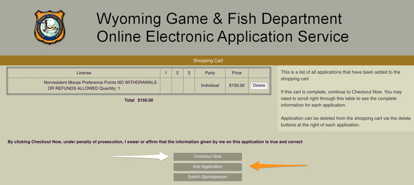 Checkout page for Wyoming preference points