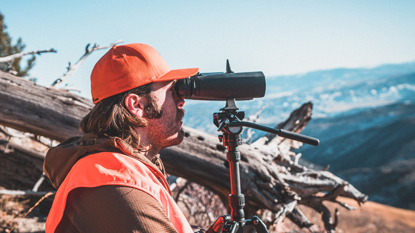 Chris Neville glassing with 15 power Zeiss binoculars