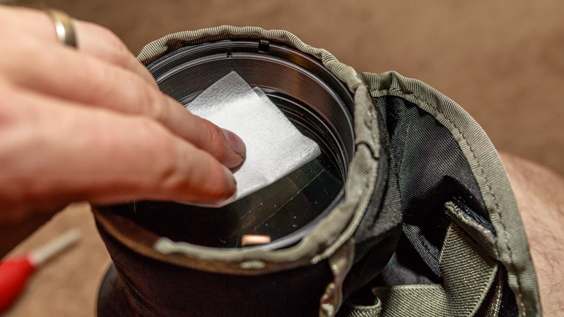 Cleaning spotting scope with non abrasive wipes