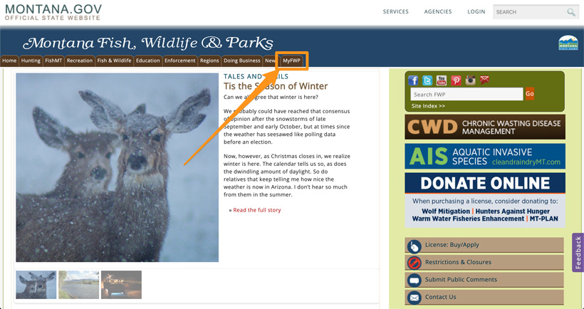 Clicking over to MyFWP Montana login page